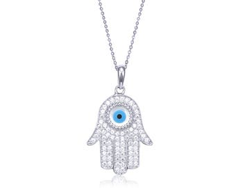14K Solid White Gold Cubic Zirconia Hamsa Hand Evil Eye Pendant Rolo Chain Necklace Set - Blue Good Luck Charm