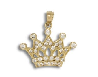 14K Solid Yellow Gold Cubic Zirconia Crown Pendant - Royal Necklace Charm
