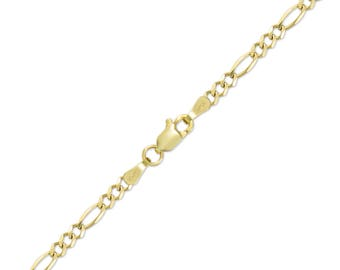 "10K Solid Yellow Gold Figaro Bracelet 3.0mm 7-8"" - Polished Chain Link"