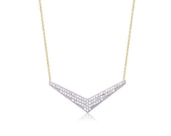 14K Solid Yellow Gold Cubic Zirconia V Pendant Rolo Chain Necklace Set - Charm