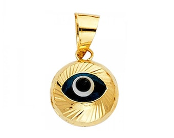 14K Solid Yellow Gold Evil Eye Pendant - Round Good Luck Necklace Charm