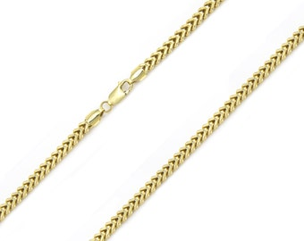 "10K Yellow Gold Hollow Franco Necklace Chain 3.0mm 18-36"" - Box Link"