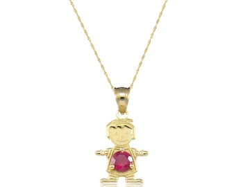 14K Solid Yellow Gold Cubic Zirconia Birthstone Boy Pendant Singapore Chain Necklace Set - Any Color Charm