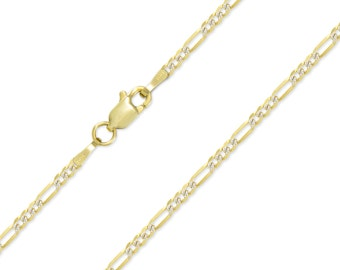 """14K Solid Yellow Gold White Pave Classic Figaro Necklace Chain 2.0mm 16-24"""" - Diamond Cut Link"""