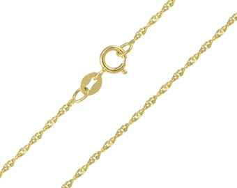 "14K Solid Yellow Gold Singapore Necklace Chain 1.5mm 16-24"" - Diamond Cut Link"