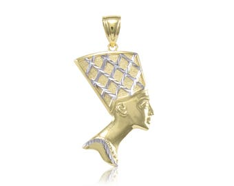 10K Solid Yellow White Gold Nefertiti Head Pendant - Egyptian Queen Necklace Charm