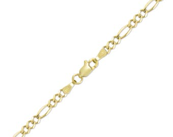 "14K Solid Yellow Gold Figaro Bracelet 4.0mm 7-9"" - Polished Chain Link"