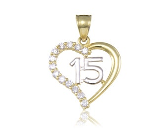 14K Yellow Gold Cubic Zirconia Heart Sweet 15 Pendant - Love Quinceanera Anos Birthday Necklace Charm