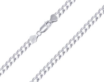 "14K Solid White Gold Cuban Necklace Chain 4.0mm 18-30"" - Round Curb Link"