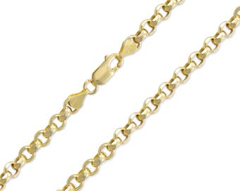 "10K Yellow Gold Hollow Rolo Necklace Chain 4.0mm 20-32"" - Round Cable Link"
