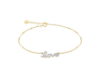 14K Solid Yellow Gold Cubic Zirconia Love Bracelet - Charm Rolo Chain Link