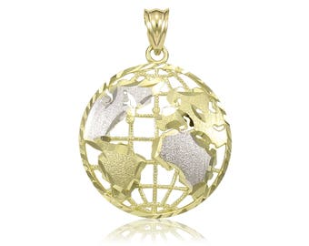 14K Solid Yellow White Gold Globe Pendant - World Map Planet Earth Necklace Charm