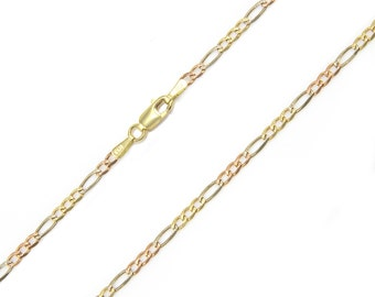 "14K Solid Yellow White Rose Gold Figaro Necklace Chain 3.0mm 16-26"" - Link"