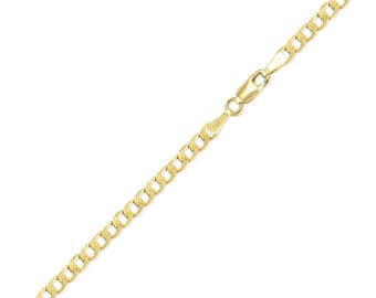 "10K Yellow Gold Hollow Cuban Bracelet 3.5mm 7-8"" - Curb Chain Link"