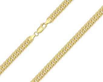 """10K Yellow Gold Hollow Miami Cuban Necklace Chain 6.5mm 20-32"""" - Round Curb Link"""