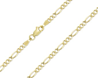 """10K Solid Yellow Gold Figaro Necklace Chain 3.0mm 16-26"""" - Polished Link"""