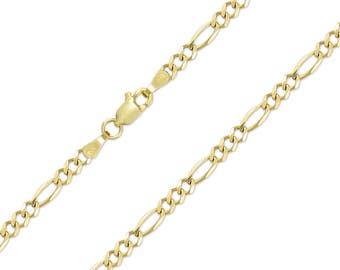 "14K Solid Yellow Gold Figaro Necklace Chain 4.0mm 18-30"" - Polished Link"