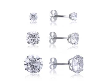 14K Solid White Gold Cubic Zirconia Round Cut Solitaire Stud Earrings Basket 2.0-7.0mm