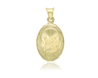 14K Solid Yellow Gold Baptism Oval Medal Pendant - Necklace Charm