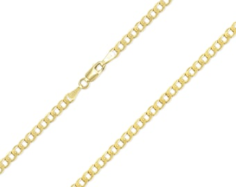 "10K Yellow Gold Hollow Cuban Necklace Chain 2.5mm 16-26"" - Round Curb Link"