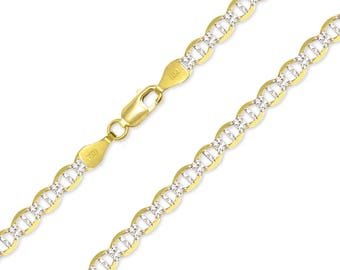 "14K Solid Yellow Gold White Pave Mariner Necklace Chain 4.4mm 18-24"" - Diamond Cut Anchor Link"