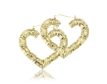 10K Yellow Gold Heart Bamboo Hoop Earrings - Door Knocker