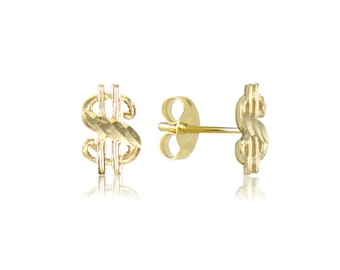 14K Solid Yellow Gold Dollar Sign Stud Earrings - Money Diamond Cut
