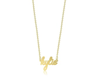10K Solid Yellow Gold Personalized Custom Cursive Name Pendant Rolo Chain Necklace Set - Alphabet Letter Charm