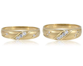 14K Yellow Gold Cubic Zirconia Solid Wedding Band Ring Set