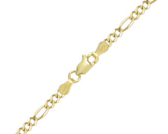 "10K Solid Yellow Gold Figaro Bracelet 5.0mm 7-9"" - Polished Chain Link"