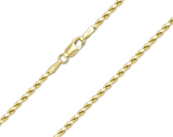 "14K Solid Yellow Gold Diamond Cut Rope Necklace Chain 2.0mm 16-30"" - Link"
