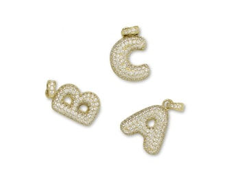 10K Solid Yellow Gold Cubic Zirconia Initial Letter Pendant - A-Z Any Alphabet Necklace Charm