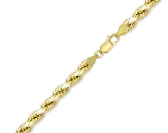 "10K Yellow Gold Hollow Diamond Cut Rope Bracelet 6.0mm 8-9"" - Chain Link"