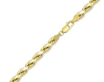 "10K Yellow Gold Hollow Diamond Cut Rope Bracelet 6.0mm 8-9"" - Chain Link"