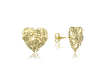 10K Solid Yellow Gold Heart Nugget Stud Earrings - Love Diamond Cut