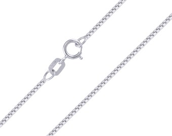 "10K Solid White Gold Box Necklace Chain 0.8mm 16-24"" - Polished Link"