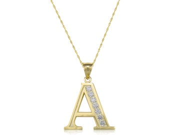 10K Solid Yellow Gold Cubic Zirconia Initial Letter Pendant Singapore Chain Necklace Set - A-Z Any Alphabet Charm