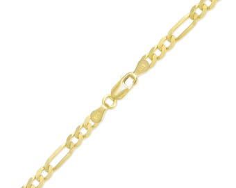 "14K Yellow Gold Hollow Figaro Bracelet 5.5mm 7-9"" - Polished Chain Link"