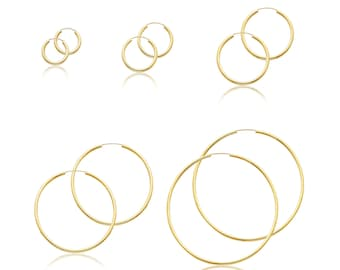 10K Yellow Gold Endless Round Hoop Earrings 2.0mm 18-65mm - Classic Polished Plain Tube