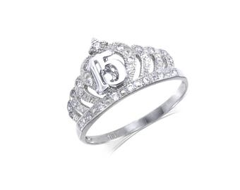 10K Solid White Gold Cubic Zirconia Crown Sweet 15 Ring - Quinceanera Anos Birthday Band