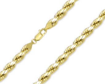 "10K Yellow Gold Hollow Diamond Cut Rope Necklace Chain 7.0mm 24-32"" - Link"