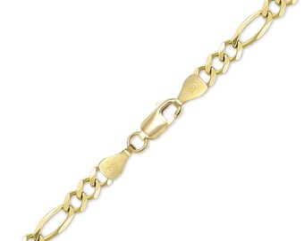 "14K Solid Yellow Gold Figaro Bracelet 10.0mm 8-9"" - Polished Chain Link"