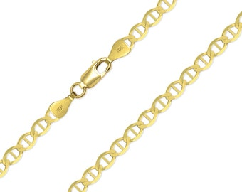 "10K Solid Yellow Gold Mariner Necklace Chain 4.0mm 16-30"" - Anchor Link"