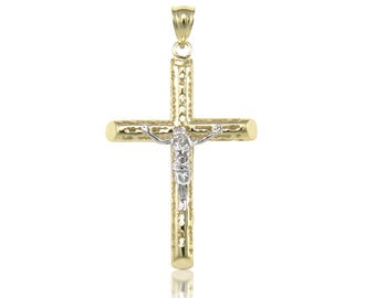 14K Solid Yellow White Gold Filigree Tube Crucifix Cross Pendant - Jesus Polished Necklace Charm