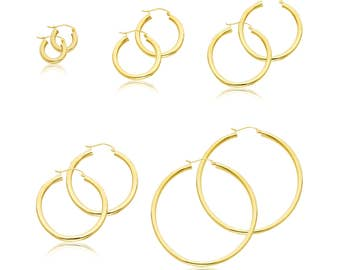 14K Yellow Gold Round Hoop Earrings 3.0mm 15-55mm - Classic Polished Plain Tube
