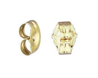 14K Solid Yellow Gold Butterfly Earring Backs - Replacement Push Back Stopper