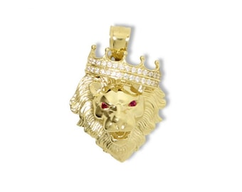 10K Solid Yellow Gold Cubic Zirconia Crown Lion Head Pendant - Ruby Red Necklace Charm