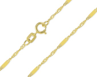 "14K Solid Yellow Gold Custom Singapore Bar Choker Necklace Chain 1.2mm 11-15"" - Diamond Cut Link"