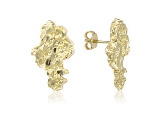 10K Solid Yellow Gold Nugget Stud Earrings - Diamond Cut