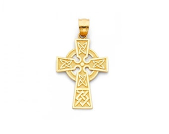 14K Solid Yellow Gold Celtic Cross Pendant - Crucifix Necklace Charm
